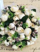 Heart & M Wedding Flowers Round Roses Bouquets Wedding / Party/ Evening Satin / Silk / Bead / Rhinestone , beige