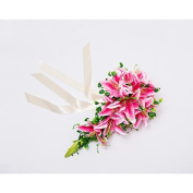 """Heart & M Wedding Flowers Cascade Lilies Bouquets Wedding Party/ Evening Satin 19.7""""(Approx.50cm) , blushing pink"""