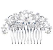 Westeng Bridal Hair Comb Clip Silver Wedding Hair Comb Rhinestones Headdress for Wedding/Party/Prom