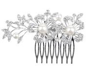 Westeng Bridal Hair Comb Clip Silver Wedding Hair Comb Pearl Rhinestones Headdress for Wedding/Party/Prom