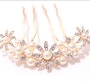 High - grade hair ornaments crystal pearl diamond - studded flower plate hair combs bridal diamonds four - tooth hair combs pearl white