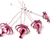 High-end bride plate made of crystal crown small pin hairpin high-quality diamond U-shaped folder rose red