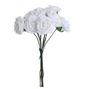 10Pcs Artificial Flower Foam Rose Wedding Bridesmaid Bridal Bouquet Party Decor White & 5.5Cm