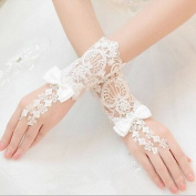 FUNAN Wrist Length Fingerless Glove Lace Bridal Gloves All Seasons Beading Bow , ivory , one size