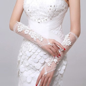 FUNAN Elbow Length Fingerless Glove Lace Bridal Gloves Autumn Summer Appliques , ivory , one size