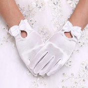 FUNAN White Wrist Length Fingertips Glove Flower Tulle Evening Bridal Gloves for Wedding Dress Accessories with DIY Pearls and Rhinestones , white
