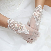 FUNAN Wrist Length Fingertips Glove Tulle Bridal Gloves Party/ Evening Gloves Spring Summer Fall Appliques , ivory , one size