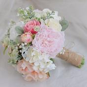 DYF Red and White Rose Peony Bride Holding flowers Wedding Decoration,Pink Orange