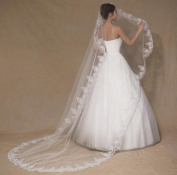 Fablcrew Wedding Bride Veil Embroidery Edge Elegant Long Elbow Bridal Veil for Women Wedding Party