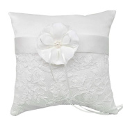 20x20cm Western-Style Elegant Wedding Ring Pillow, Faux Pearls Stain Bowknot Lace Pillow Cushion with Petals , Bridal Accessories Wedding Party Favours Decoration