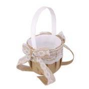 Decoration Event Party Supplies . Jute Burlap Flower Basket Wedding Basket Flower Girls Basket Lace Bowknots Basket for Wedding Decoration Party Favour - 22x13x13cm