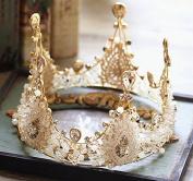 Bride crown European style retro handmade crystal large round crown ornaments