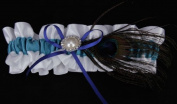 Peacock-Pattern Feather Charm Bridal Wedding Prom Satin Garter