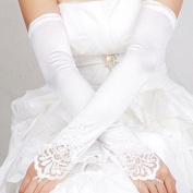 kimberleystore Beauty Bridal Lady Gathered Satin Fingerless Gloves Floral Embroidery Lace Sequins
