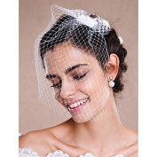 FUNAN Wedding Veil One-tier Blusher Veils Veils for Short Hair Headpieces with Veil Raw Edge Tulle White