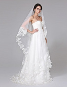 FUNAN Wedding Veil One-tier Cathedral Veils Lace Applique Edge Net , beige