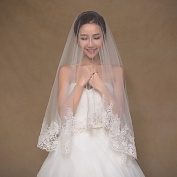 FUNAN Wedding Veil One-tier Elbow Veils Fingertip Veils Lace Applique Edge Tulle Lace Ivory , ivory