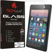 TECHGEAR® All new Amazon Fire 18cm Alexa Tablet (2017 Edition / 7th Gen) GLASS Edition Genuine Tempered Glass Screen Protector Guard Cover