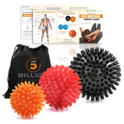 5BILLION Massage Ball Spiky Ball - Muscle Roller Ball for Deep Tissue, Physical Therapy & Myofascial Release - Premium Lacrosse Style Rubber Balls Stress Balls - Excellent Tool for Yoga Workouts