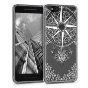 kwmobile Crystal TPU Silicone Case for Google Pixel 5.1cm Design baroque compass white transparent