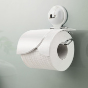 FECA Wall Mounted Toilet Paper Holder with Cover and Powerful Suction Cup