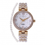 Croton Ladies Goldtone Mother of Pearl Dial Watch with Crystal Bezel & Bracelet Set - CN407567YLMP