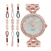 Croton Ladies Rosetone Mother of Pearl Dial Watch with Crystal Bezel & Bracelet Set - CN407567RGMP