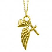 Dimaya 14k Yellow Gold Dangling Heart, Cross and Angel Wing Charm Necklace