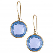 Jewelmak Inc. 14k Yellow Gold Bezel-set Blue Topaz Hook Earrings