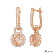 Gioelli Designs Gioelli Rose Gold Plated Sterling Silver Quartz and Created White Sapphire Accent Earring