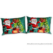 Decdeal 2pcs/set Christmas Santa Pattern Pillowcases Christmas Bed Pillow Covers Cases Bedroom Decoration--Standard Size 20 * 70cm