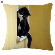 Cute Cat Pattern Linen Throw Pillow Case Sofa Bed Home Car Decor Cushion Cover