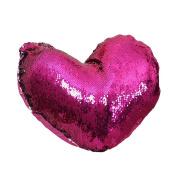 prelikes Mermaid Heart-shaped Sequins Throw Pillow Case Sofa Cushion Cover Home Decor