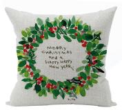 ZebraSmile Christmas Cotton Linen Decorative Pillowcase Throw Pillow Cushion Cover Square 43cm For Car Seatback Home Sofa Chair Seatback 43cm x 43cm