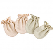 Affe 2 Pairs Baby Non Scratch Gloves Newborn Boy Girl Organic Cotton Mittens for 0-6 Months, Green & Brown-without stripes