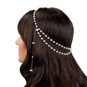 Pearlyta Sterling Silver White Pearl Wedding Head Band