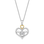 MaxMark, Inc. Sterling Silver And Dancing Diamond Double Heart 'Mom' Pendant