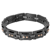 BIG Jewellery Co Men's Black-plated Stainless Steel and Ceramic Bracelet