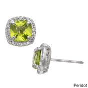Gioelli Designs Gioelli Sterling Silver Gemstone and Created White Sapphire Accent Stud Earrings
