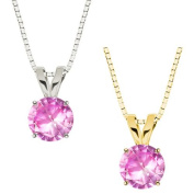 MaxMark, Inc. 10k Gold Round Pink Sapphire Solitaire Pendant Necklace
