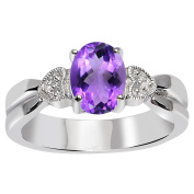 Orchid Jewellery Mfg Inc Orchid Jewellery 925 Sterling Silver 1 1/8 Carat Amethyst and Diamond Accent Engagement Ring