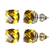 MaxMark, Inc. 10k White or Yellow Gold 6mm Checkerboard Cushion Lab-created Yellow Sapphire Stud Earrings
