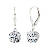 MaxMark, Inc. Sterling Silver 2 CTtw 6mm Round-cut Leverback Earrings Made with Zirconia