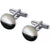 Visol Stainless Steel Round Black and White Mother of Pearl Cufflinks
