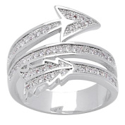 "Simon Frank Silvertone 3-Row ""Arrow of Love"" Pave CZ Ring - Silver"