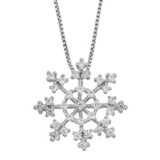 Fremada Rhodium Plated Sterling Silver Cubic Zirconia Snowflake Pendant Necklace