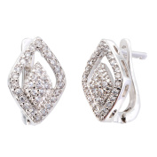 Simon Frank Collection Silvertone Couture Design CZ Earrings