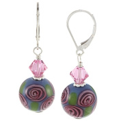 Lolas Jewellery Lola's Jewellery Sterling Silver Rose Design Glass and Crystal Earrings