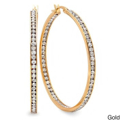 Piatella 18k Gold Plated CZ 50mm In and Out Hoops
