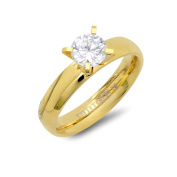 Piatella Goldplated Stainless Steel Cubic Zirconia Engagement Ring